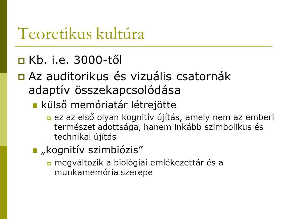 Teoretikus kultúra  Kb. i.e. 3000-től  Az auditorikus és vizuális csatornák adaptív összekapcsolódása külső memóriatár létrejötte  ez az első olyan
