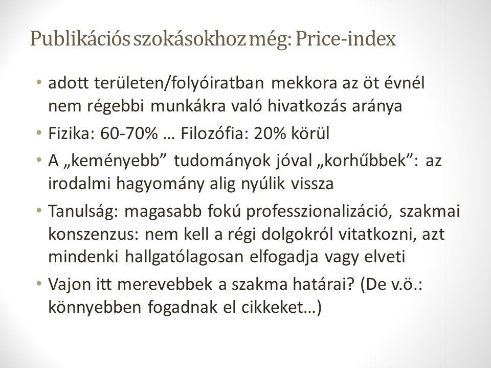 Publikációs szokásokhoz még: Price-index adott területen/folyóiratban mekkora az öt évnél nem régebbi munkákra való hivatkozás aránya Fizika: 60-70% …