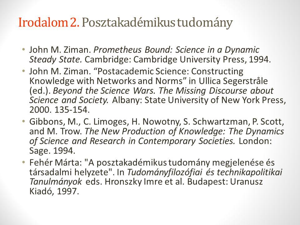 Irodalom 2. Posztakadémikus tudomány John M. Ziman. Prometheus Bound: Science in a Dynamic Steady State. Cambridge: Cambridge University Press, 1994.