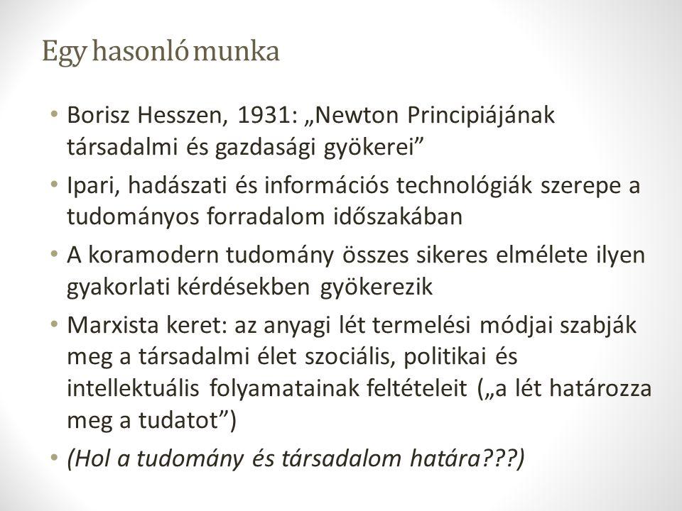 """Egy hasonló munka Borisz Hesszen, 1931: """"Newton Principiájának társadalmi és gazdasági gyökerei"""" Ipari, hadászati és információs technológiák szerepe"""