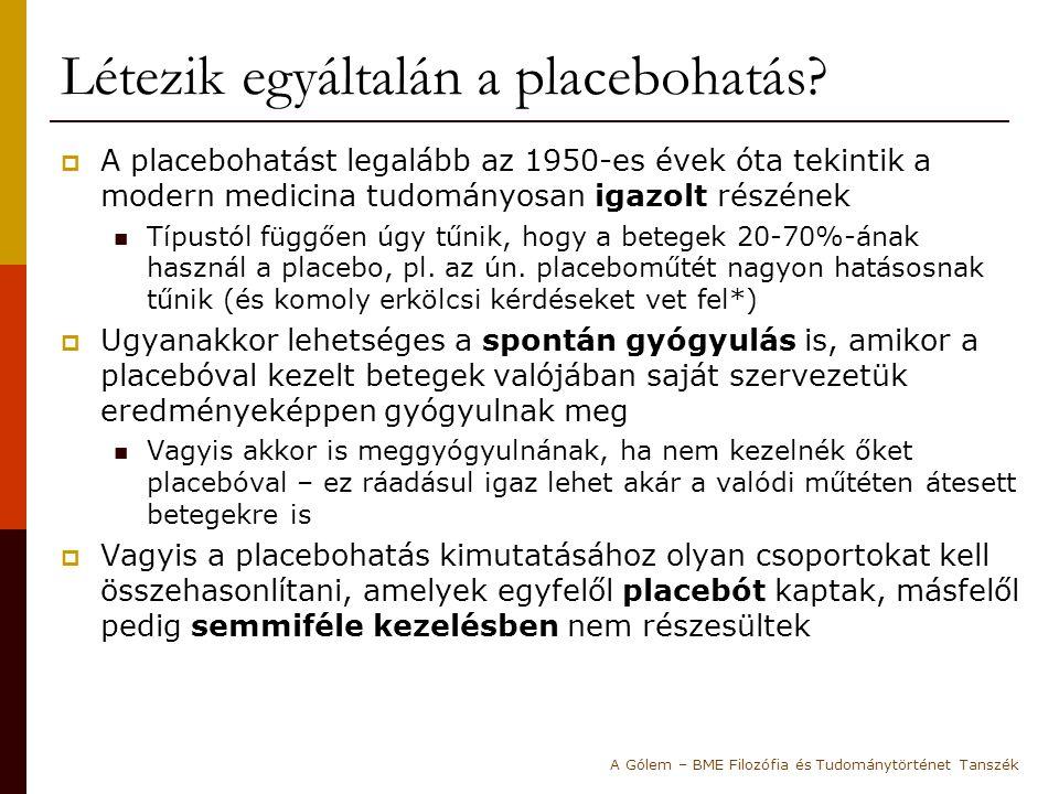 Hrobjartsson és Gotzsche kutatása  Két dán orvos (Hrobjartsson és Gotzsche) 2001-ben 114 placebovizsgálat eredményét hasonlította össze  Megállapításuk szerint nincs jelentős különbség a placebóval kezelt és a nem kezelt csoportok állapotjavulásában.