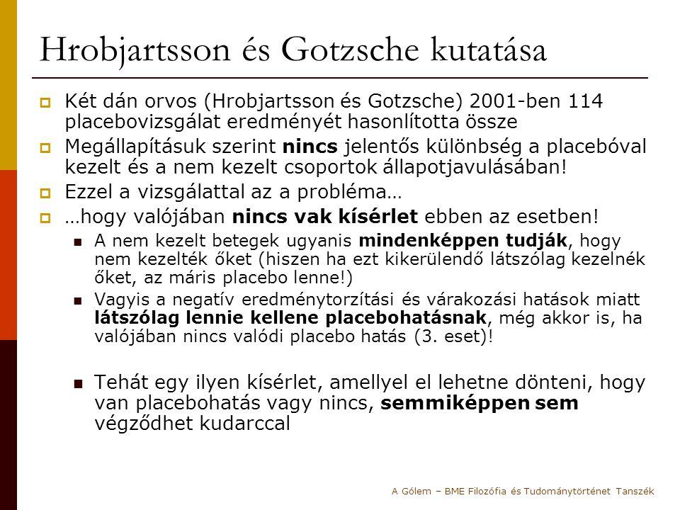 Hrobjartsson és Gotzsche kutatása  Két dán orvos (Hrobjartsson és Gotzsche) 2001-ben 114 placebovizsgálat eredményét hasonlította össze  Megállapítá