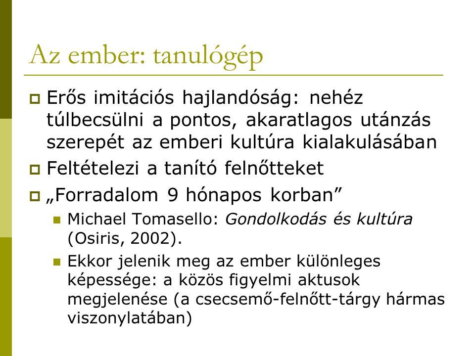 """Az ember: tanulógép  Erős imitációs hajlandóság: nehéz túlbecsülni a pontos, akaratlagos utánzás szerepét az emberi kultúra kialakulásában  Feltételezi a tanító felnőtteket  """"Forradalom 9 hónapos korban Michael Tomasello: Gondolkodás és kultúra (Osiris, 2002)."""