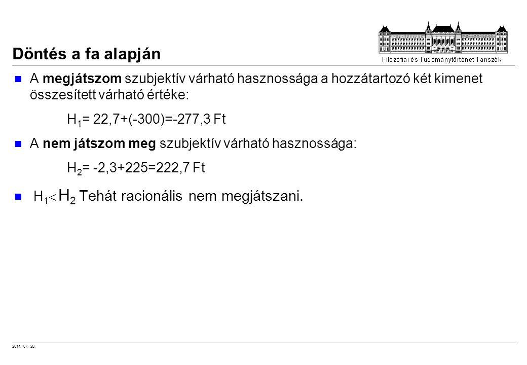 2014. 07. 28. Döntés a fa alapján A megjátszom szubjektív várható hasznossága a hozzátartozó két kimenet összesített várható értéke: H 1 = 22,7+(-300)