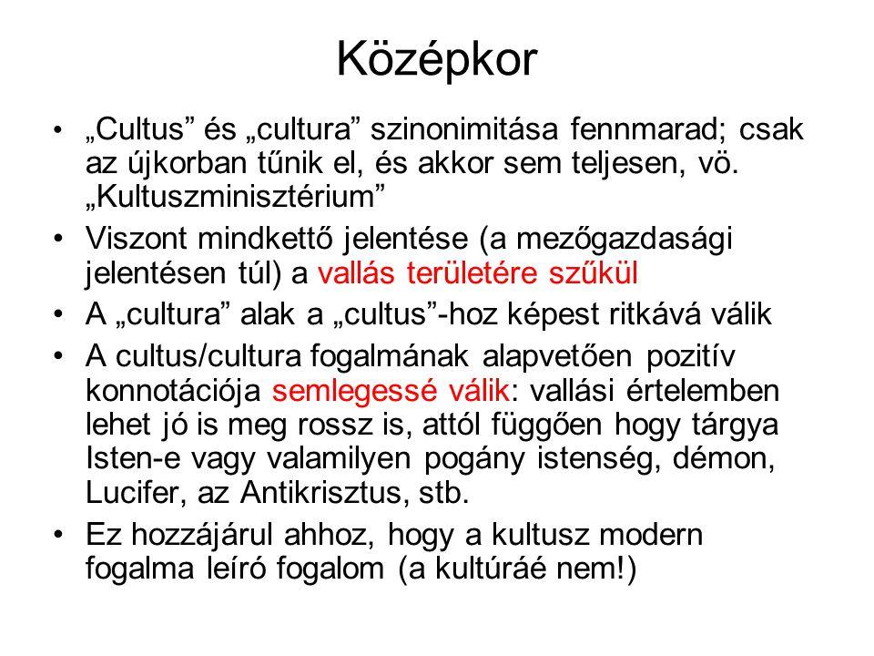 """Középkor """" Cultus"""" és """"cultura"""" szinonimitása fennmarad; csak az újkorban tűnik el, és akkor sem teljesen, vö. """"Kultuszminisztérium"""" Viszont mindkettő"""