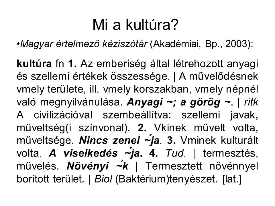 Mi a kultúra? Magyar értelmező kéziszótár (Akadémiai, Bp., 2003): kultúra fn 1. Az emberiség által létrehozott anyagi és szellemi értékek összessége.