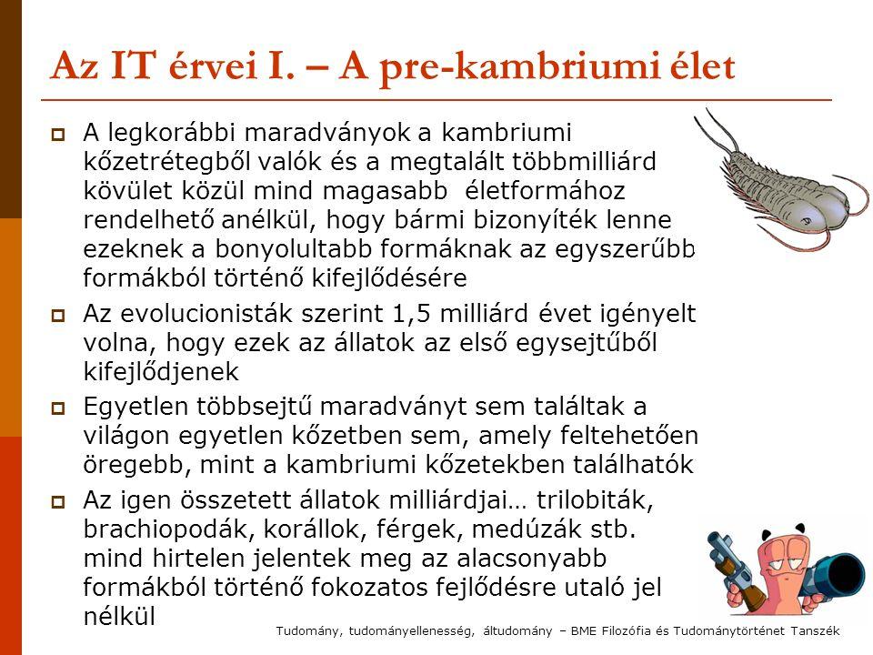 Az IT érvei I. – A pre-kambriumi élet  A legkorábbi maradványok a kambriumi kőzetrétegből valók és a megtalált többmilliárd kövület közül mind magasa