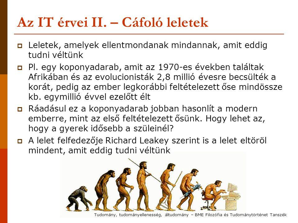 Az IT érvei II. – Cáfoló leletek  Leletek, amelyek ellentmondanak mindannak, amit eddig tudni véltünk  Pl. egy koponyadarab, amit az 1970-es években