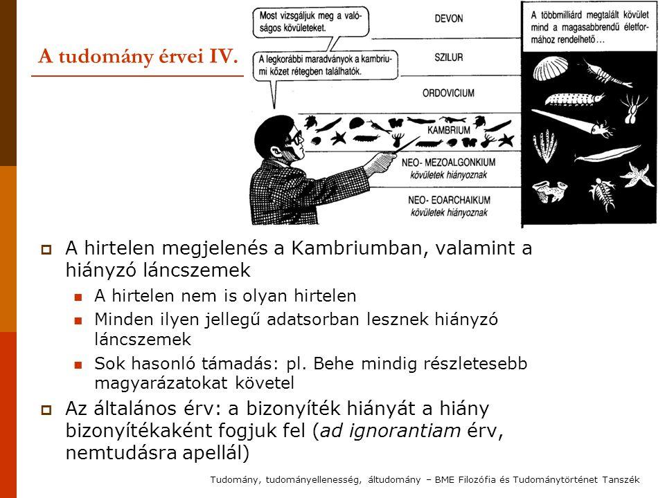 A tudomány érvei IV.  A hirtelen megjelenés a Kambriumban, valamint a hiányzó láncszemek A hirtelen nem is olyan hirtelen Minden ilyen jellegű adatso