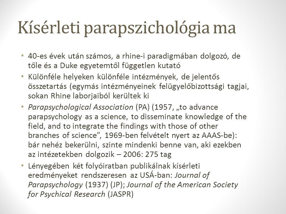 Kísérleti parapszichológia ma 40-es évek után számos, a rhine-i paradigmában dolgozó, de tőle és a Duke egyetemtől független kutató Különféle helyeken