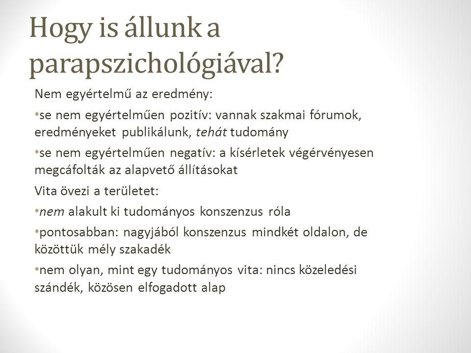 Hogy is állunk a parapszichológiával? Nem egyértelmű az eredmény: se nem egyértelműen pozitív: vannak szakmai fórumok, eredményeket publikálunk, tehát