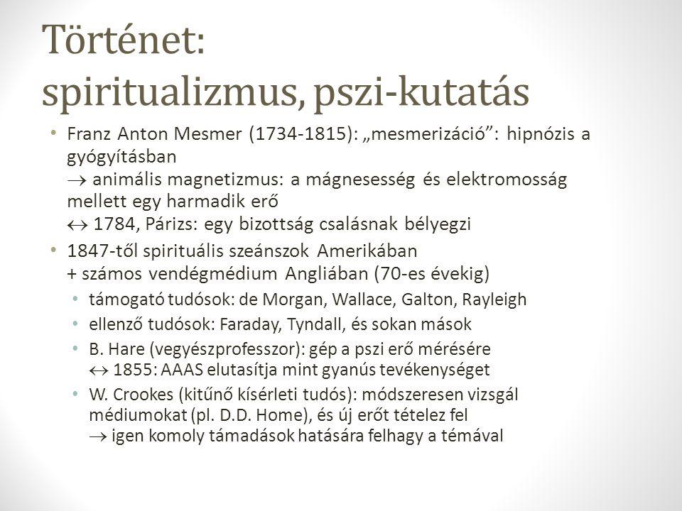 Történet: pszi-kutató társaságok Folyóiratok már korábban is: pl.