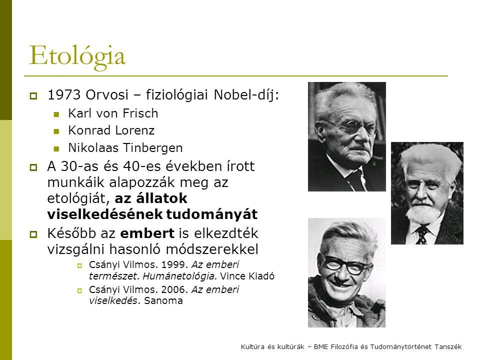 """Tinbergen négy kérdése  Tinbergen klasszikus négy szempontja a viselkedés vizsgálatában (1963): mechanizmus: """"hogyan csinálja az állat az adott tevékenységet funkció: """"miért viselkedik úgy az állat ontogenezis: hogyan alakul ki és változik az adott viselkedés az állat egyedfejlődése során filogenezis: hogyan alakult ki és változott a vizsgált viselkedés az adott állatfaj törzsfejlődése során Kultúra és kultúrák – BME Filozófia és Tudománytörténet Tanszék"""