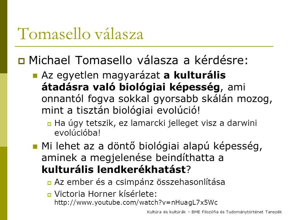 Tomasello válasza  Michael Tomasello válasza a kérdésre: Az egyetlen magyarázat a kulturális átadásra való biológiai képesség, ami onnantól fogva sok