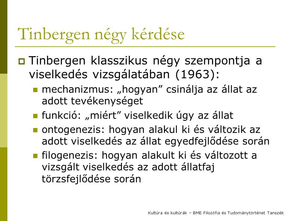 """Tinbergen négy kérdése  Tinbergen klasszikus négy szempontja a viselkedés vizsgálatában (1963): mechanizmus: """"hogyan"""" csinálja az állat az adott tevé"""