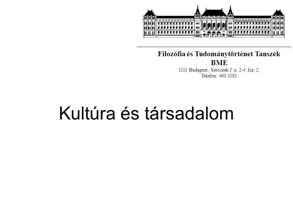 Kultúra és társadalom Filozófia és Tudománytörténet Tanszék BME 1111 Budapest, Sztoczek J. u. 2-4. fsz. 2. Telefon: 463-1181