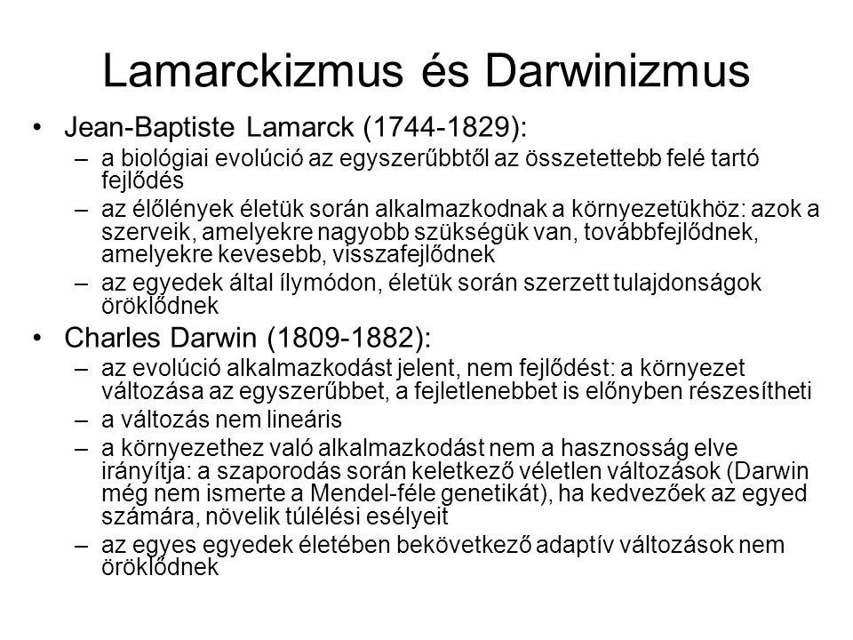 Lamarckizmus és Darwinizmus Jean-Baptiste Lamarck (1744-1829): –a biológiai evolúció az egyszerűbbtől az összetettebb felé tartó fejlődés –az élőlénye