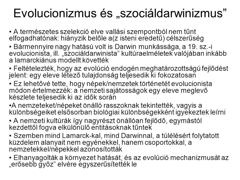 """Evolucionizmus és """"szociáldarwinizmus"""" A természetes szelekció elve vallási szempontból nem tűnt elfogadhatónak: hiányzik belőle a(z isteni eredetű) c"""