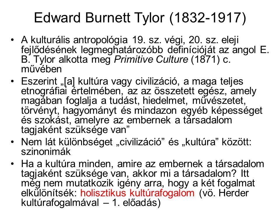 Edward Burnett Tylor (1832-1917) A kulturális antropológia 19. sz. végi, 20. sz. eleji fejlődésének legmeghatározóbb definícióját az angol E. B. Tylor