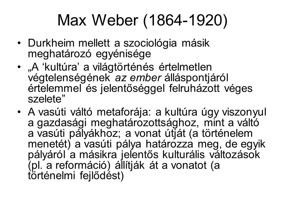 """Max Weber (1864-1920) Durkheim mellett a szociológia másik meghatározó egyénisége """"A 'kultúra' a világtörténés értelmetlen végtelenségének az ember ál"""