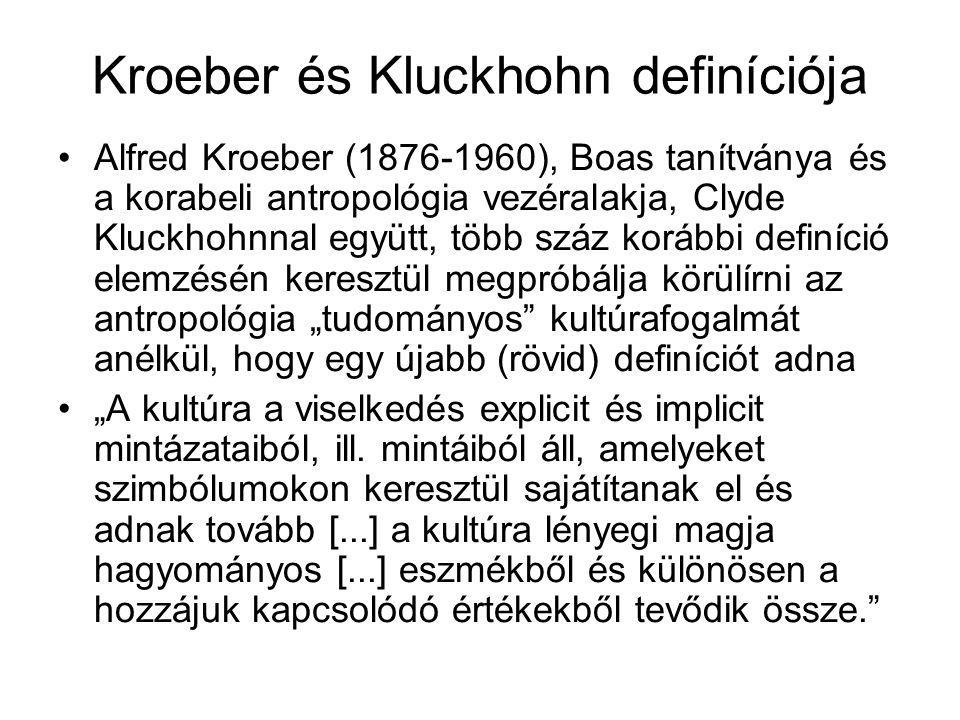 Kroeber és Kluckhohn definíciója Alfred Kroeber (1876-1960), Boas tanítványa és a korabeli antropológia vezéralakja, Clyde Kluckhohnnal együtt, több s