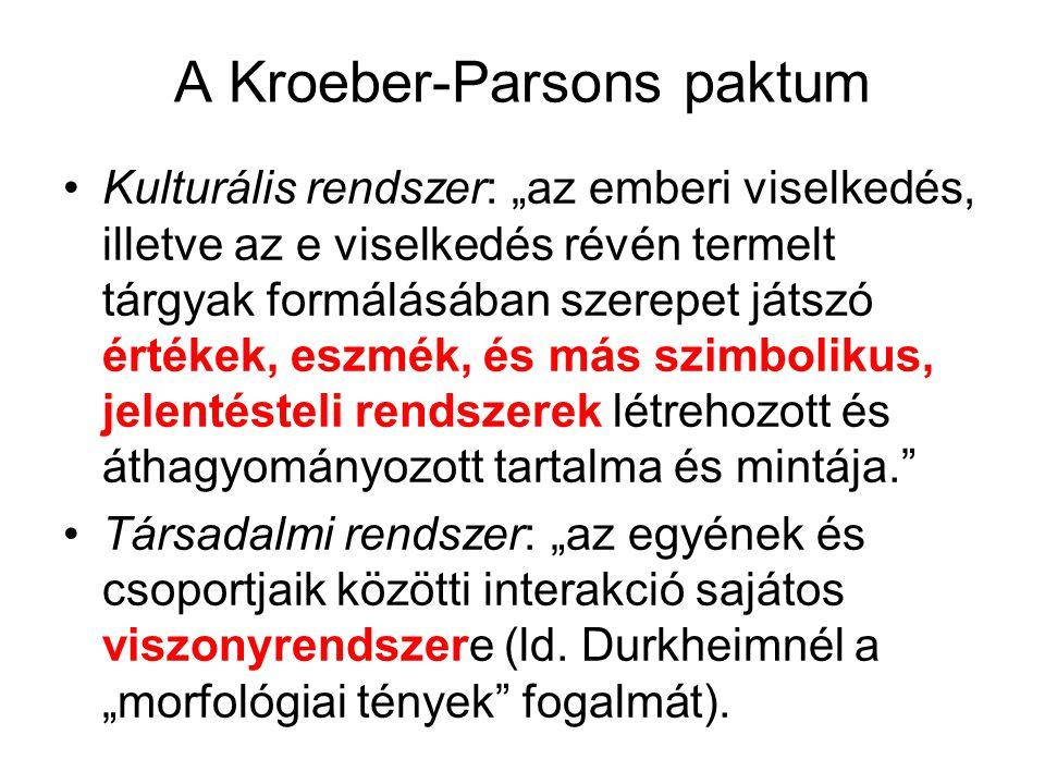 """A Kroeber-Parsons paktum Kulturális rendszer: """"az emberi viselkedés, illetve az e viselkedés révén termelt tárgyak formálásában szerepet játszó értéke"""
