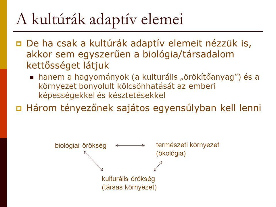 """A kultúrák adaptív elemei  De ha csak a kultúrák adaptív elemeit nézzük is, akkor sem egyszerűen a biológia/társadalom kettősséget látjuk hanem a hagyományok (a kulturális """"örökítőanyag ) és a környezet bonyolult kölcsönhatását az emberi képességekkel és késztetésekkel  Három tényezőnek sajátos egyensúlyban kell lenni természeti környezet (ökológia) biológiai örökség kulturális örökség (társas környezet)"""