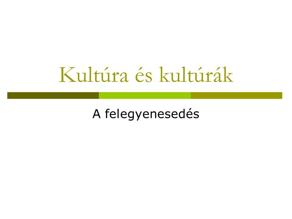 Kultúra és kultúrák A felegyenesedés
