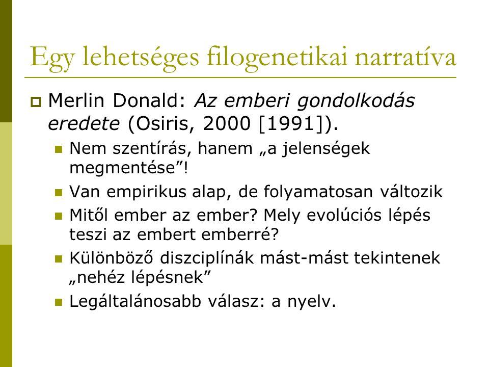 Egy lehetséges filogenetikai narratíva  Merlin Donald: Az emberi gondolkodás eredete (Osiris, 2000 [1991]).