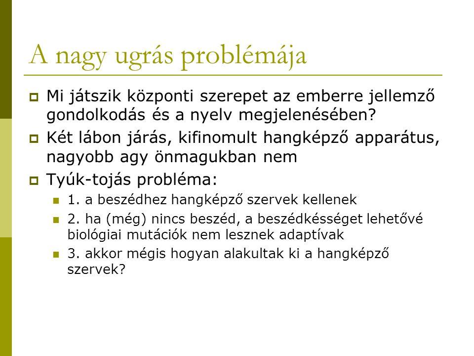A nagy ugrás problémája  Mi játszik központi szerepet az emberre jellemző gondolkodás és a nyelv megjelenésében.