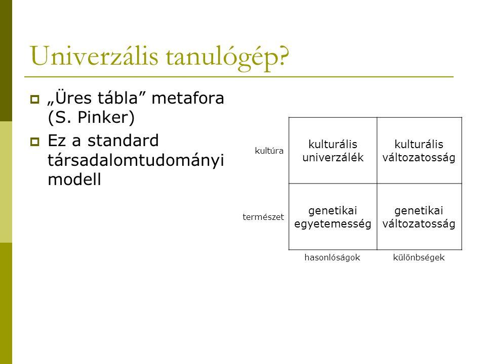 """Univerzális tanulógép?  """"Üres tábla"""" metafora (S. Pinker)  Ez a standard társadalomtudományi modell kultúra kulturális univerzálék kulturális változ"""