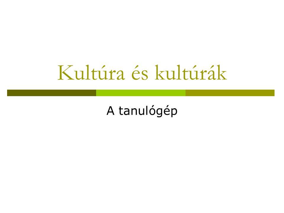 Kultúra és kultúrák A tanulógép