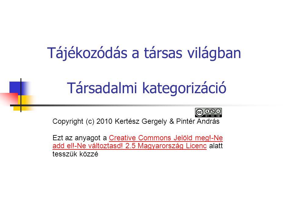 Tájékozódás a társas világban Társadalmi kategorizáció Copyright (c) 2010 Kertész Gergely & Pintér András Ezt az anyagot a Creative Commons Jelöld meg!-Ne add el!-Ne változtasd.