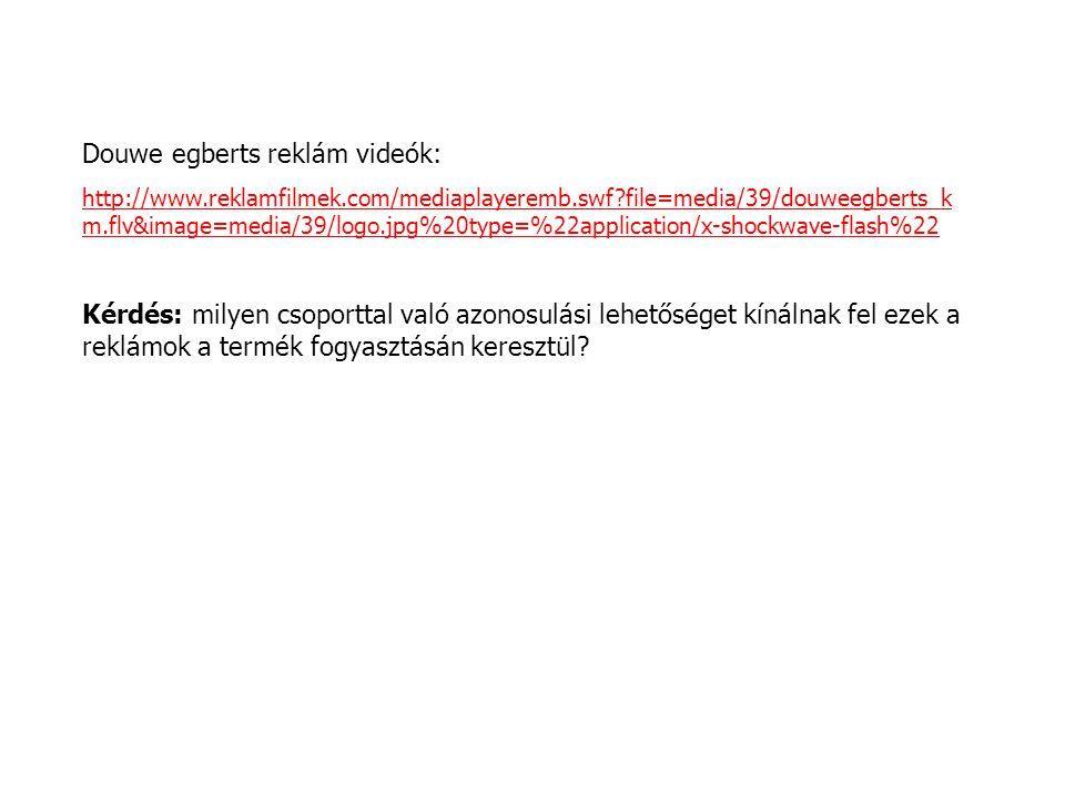 Douwe egberts reklám videók: http://www.reklamfilmek.com/mediaplayeremb.swf?file=media/39/douweegberts_k m.flv&image=media/39/logo.jpg%20type=%22appli