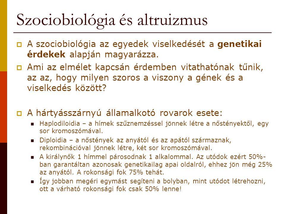 Szociobiológia és altruizmus  A szociobiológia az egyedek viselkedését a genetikai érdekek alapján magyarázza.  Ami az elmélet kapcsán érdemben vita