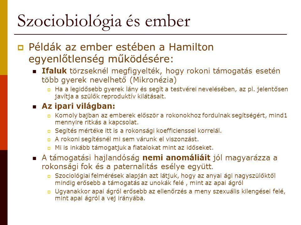 Szociobiológia és ember  Példák az ember estében a Hamilton egyenlőtlenség működésére: Ifaluk törzseknél megfigyelték, hogy rokoni támogatás esetén t