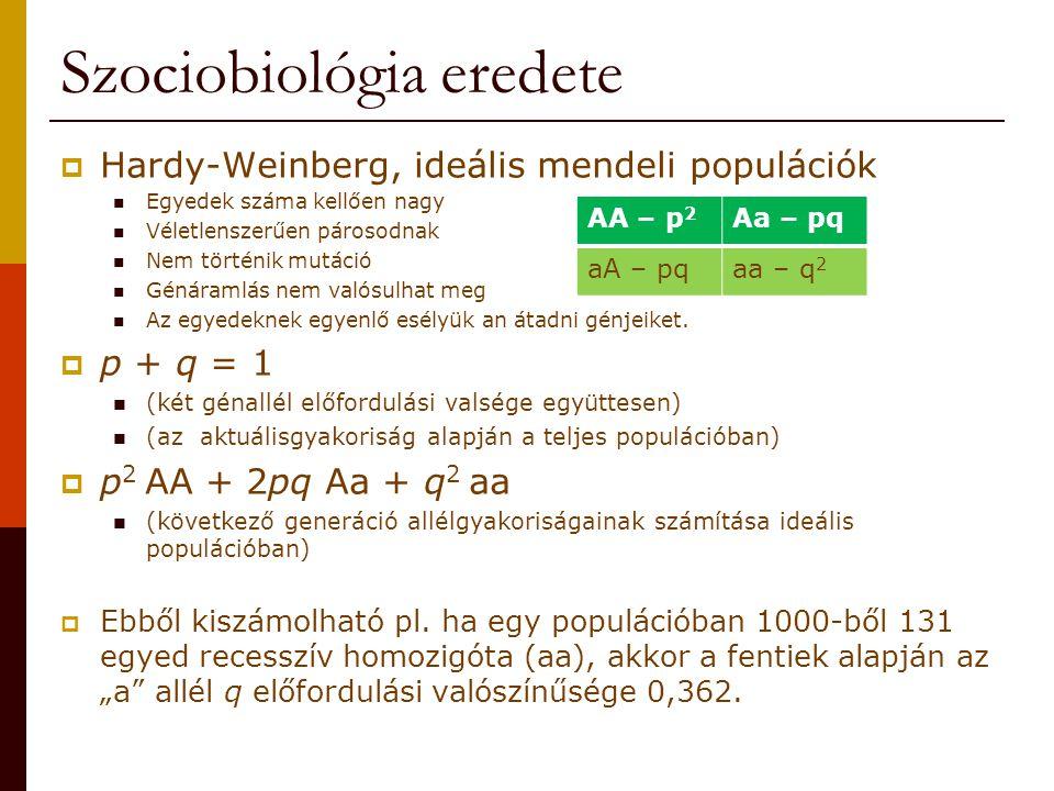 Szociobiológia és ember  Reciprok, vagy kölcsönös altruizmus is megfigyelhető már az állatvilágban is: Rőt vérszopó denevér (Desmodus rotundus)  A sikertelen vadászokat ellátják vérrel a többiek, de nem csak a rokonokat.