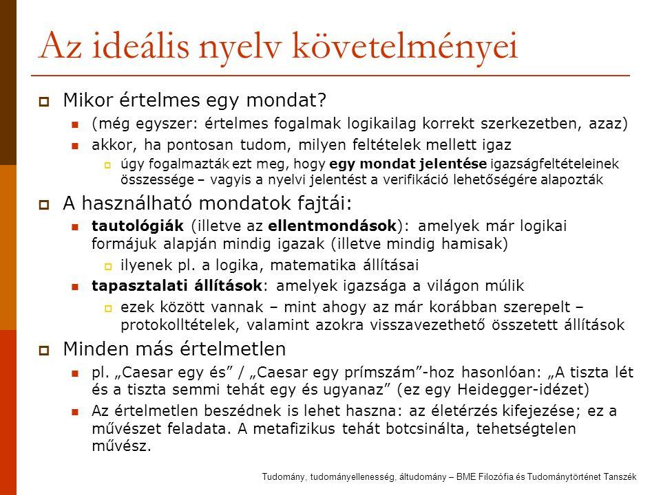 Az ideális nyelv követelményei  Mikor értelmes egy mondat? (még egyszer: értelmes fogalmak logikailag korrekt szerkezetben, azaz) akkor, ha pontosan