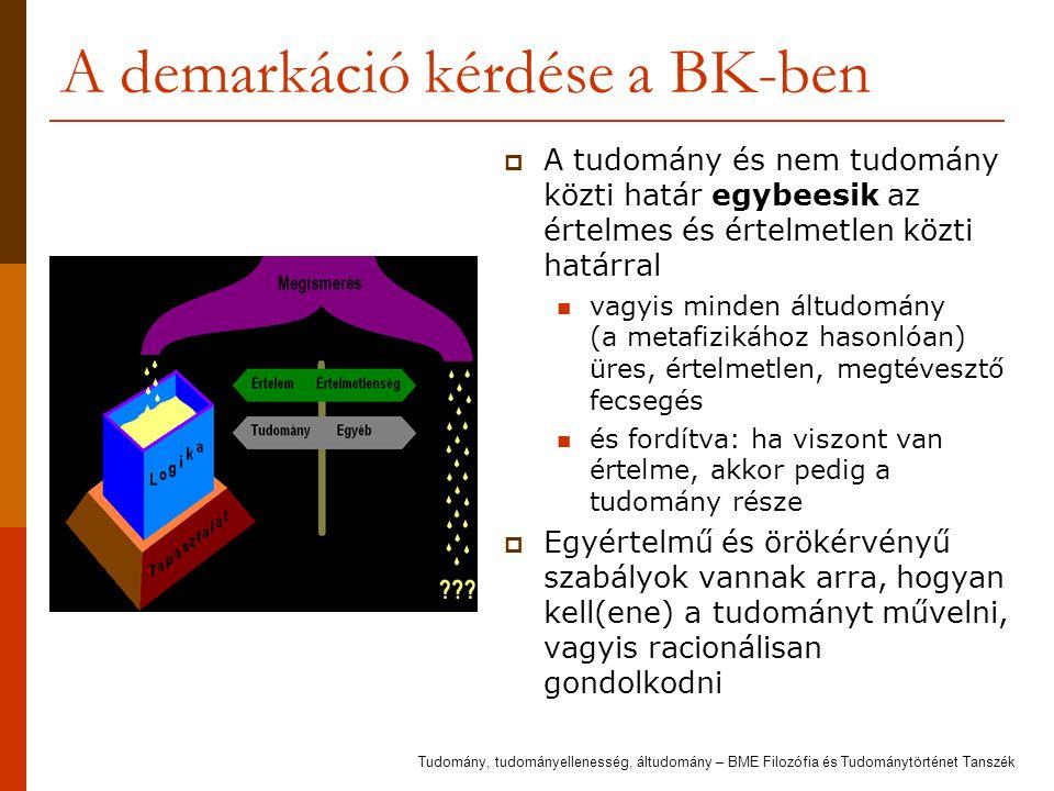 A demarkáció kérdése a BK-ben  A tudomány és nem tudomány közti határ egybeesik az értelmes és értelmetlen közti határral vagyis minden áltudomány (a