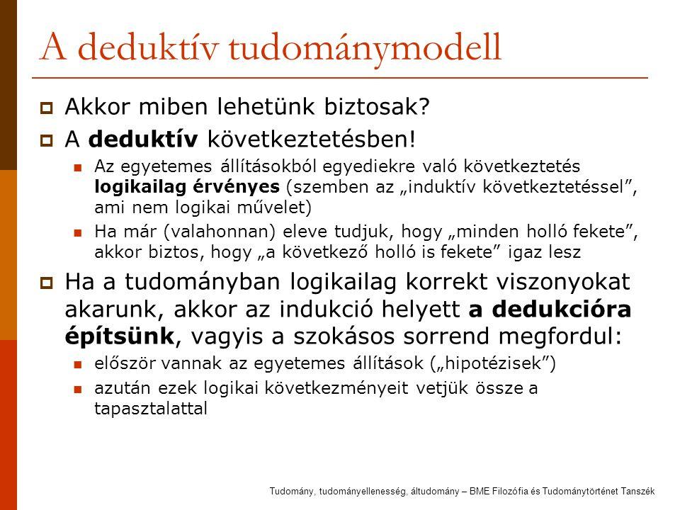 A deduktív tudománymodell  Akkor miben lehetünk biztosak?  A deduktív következtetésben! Az egyetemes állításokból egyediekre való következtetés logi