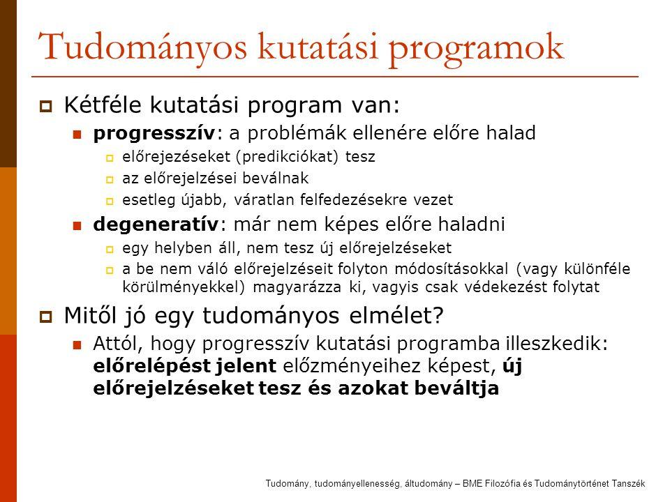 Tudományos kutatási programok  Kétféle kutatási program van: progresszív: a problémák ellenére előre halad  előrejezéseket (predikciókat) tesz  az