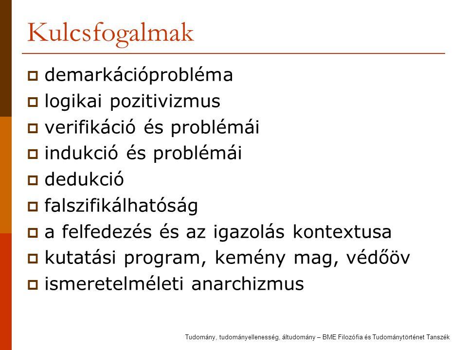 Kulcsfogalmak  demarkációprobléma  logikai pozitivizmus  verifikáció és problémái  indukció és problémái  dedukció  falszifikálhatóság  a felfe