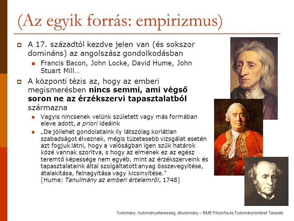 (Az egyik forrás: empirizmus)  A 17. századtól kezdve jelen van (és sokszor domináns) az angolszász gondolkodásban Francis Bacon, John Locke, David H