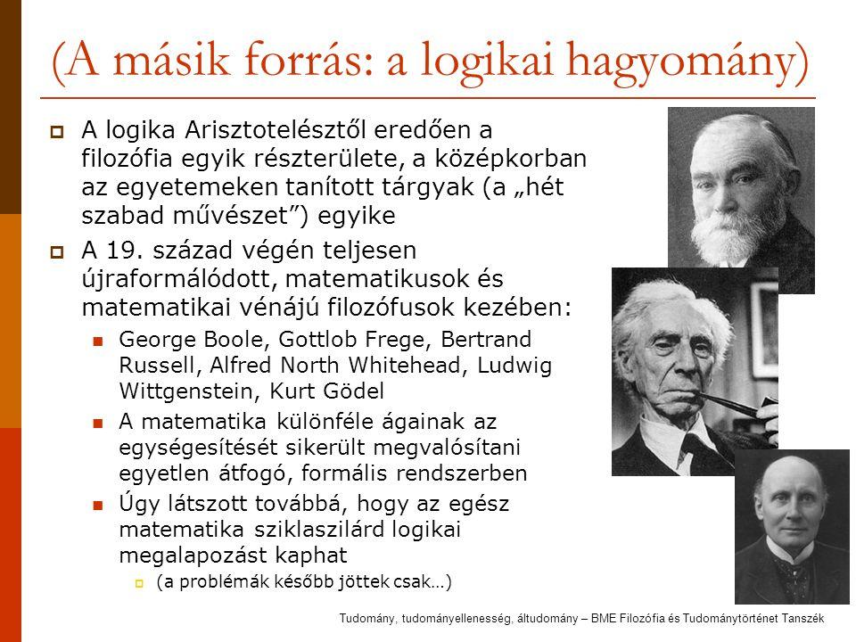 (A másik forrás: a logikai hagyomány)  A logika Arisztotelésztől eredően a filozófia egyik részterülete, a középkorban az egyetemeken tanított tárgya