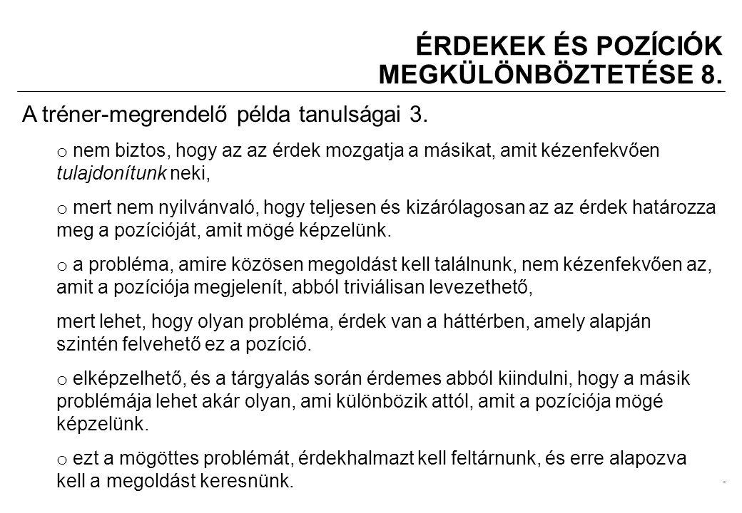 2008.02.05.Tárgyalástechnika 11 ÉRDEKEK ÉS POZÍCIÓK MEGKÜLÖNBÖZTETÉSE 8.