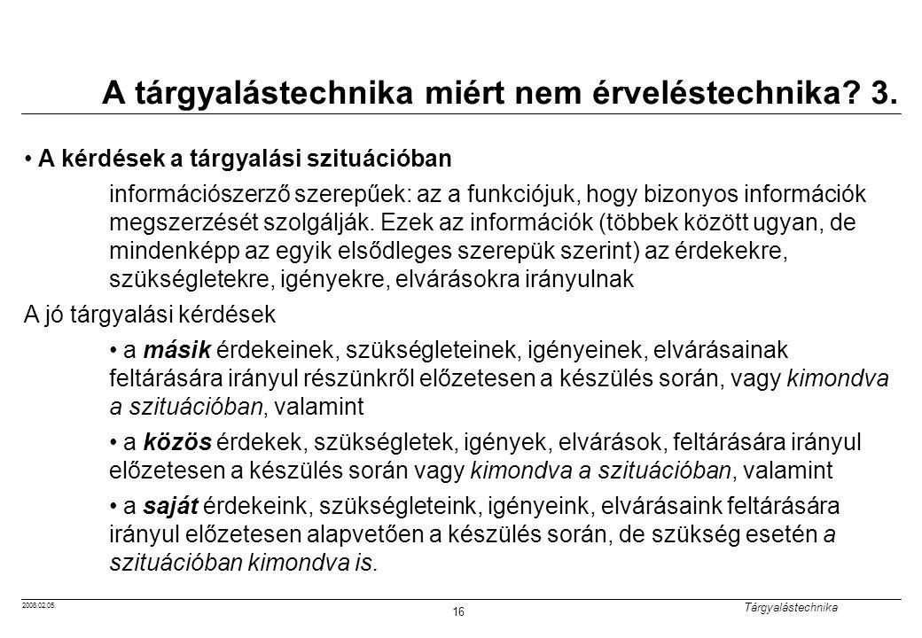 2008.02.05.Tárgyalástechnika 16 A tárgyalástechnika miért nem érveléstechnika.