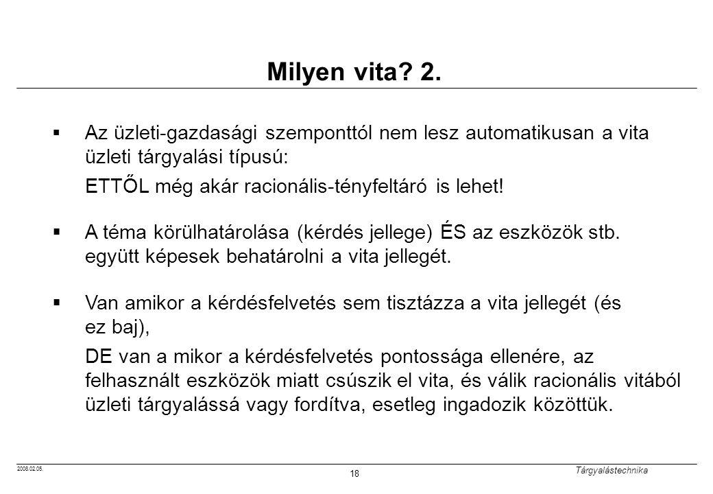 2008.02.05.Tárgyalástechnika 18 Milyen vita. 2.