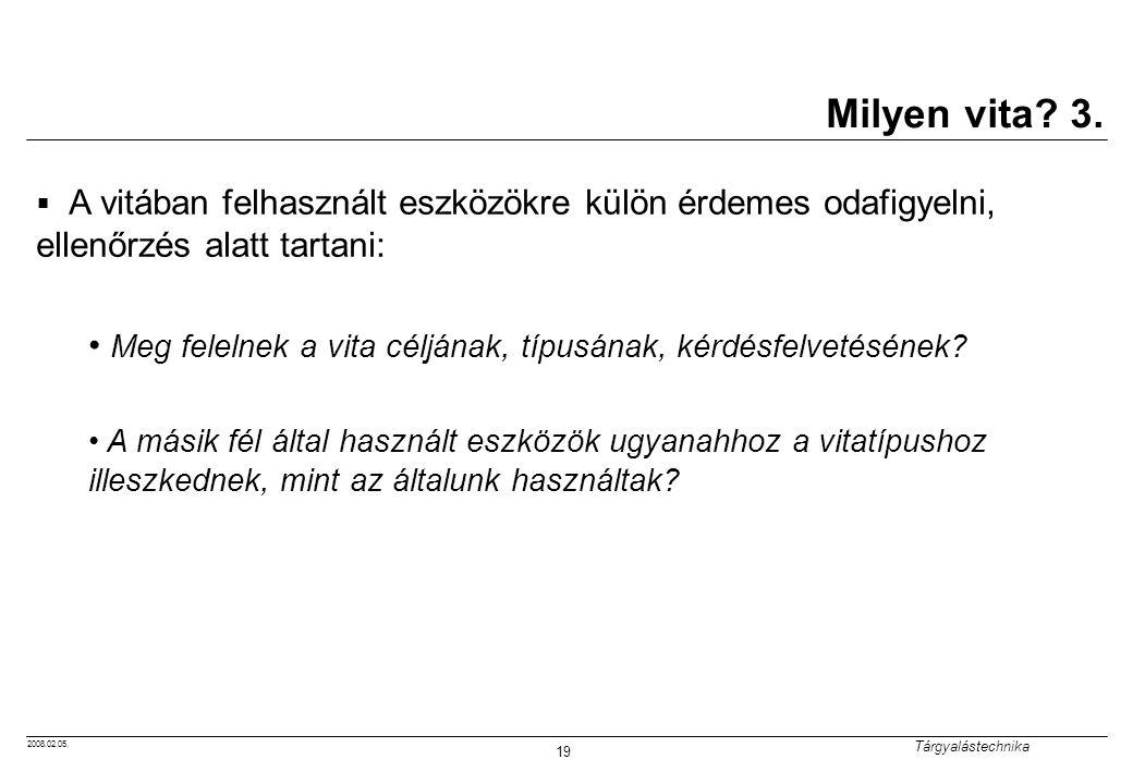 2008.02.05.Tárgyalástechnika 19 Milyen vita. 3.