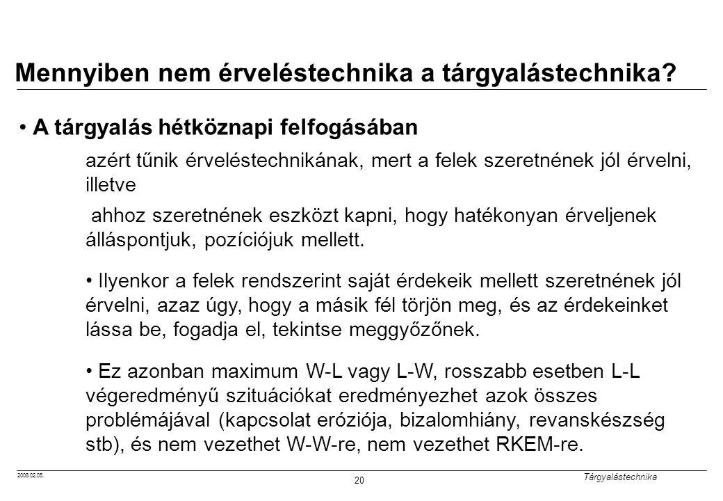 2008.02.05.Tárgyalástechnika 20 Mennyiben nem érveléstechnika a tárgyalástechnika.