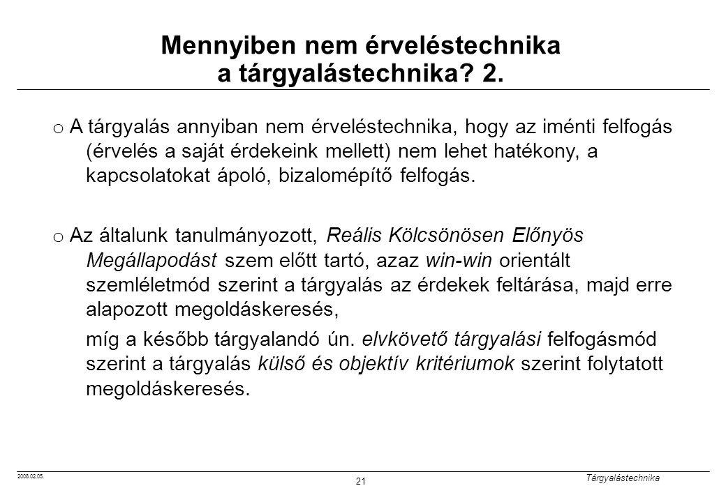 2008.02.05.Tárgyalástechnika 21 Mennyiben nem érveléstechnika a tárgyalástechnika.